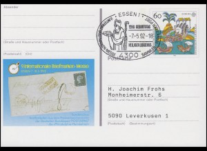 PSo 27 Messe Essen & Europa, FDC ESSt Essen Heiliger Ludgerus & Apostel 7.5.92