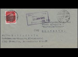 Sächsische Schwärzung AP 786I Hitler 8 Pf. EF auf Orts-Brief CHEMNITZ 28.6.45