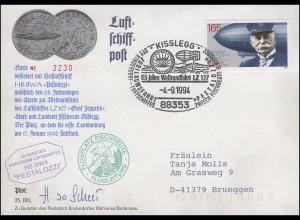 Luftschiffspost DKL 25 PESTALOZZI Weltrundfahrt LZ 127 SSt KISSLEGG 4.9.1994