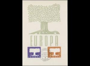 402-403 Europa CEPT 1957 auf Maximumkarte Ersttagstempel SAARBRÜCKEN 16.9.1957