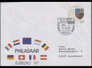 1712 Wappen Saarland, EF Bf SSt Völklingen EUREGIO & PHILASAAR Europa 15.8.1997