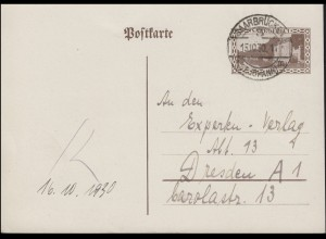 Saargebiet Postkarte P 20 Kaserne, SAARBRÜCKEN (ST. JOHANN) 15.10.30 n. Dresden