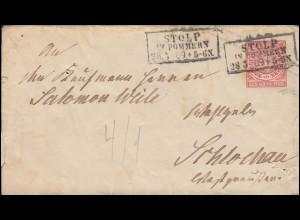 Norddeutscher Bund U 1Aa Ziffer 1 Groschen STOLP 28.5.1869 nach Schlochau 30.5.