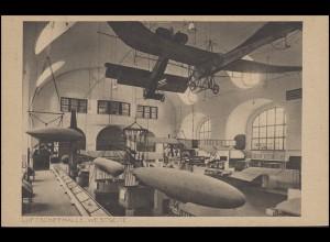 Ansichtskarte Deutsches Museum München: Luftschiffhalle Westseite, beschrieben