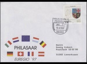 1712 Wappen Saarland, EF Bf SSt Völklingen Europa: EUREGIO & PHILASAAR 15.8.1997