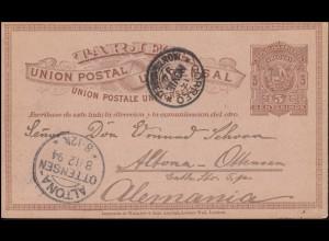 Uruguay Postkarte 3 Cent. braun MONTEVIDEO 13.11.94 nach ALTONA OTTENSEN 8.12.94