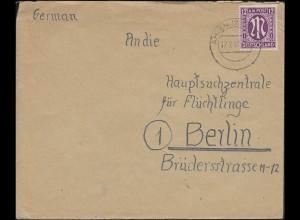 7 AM-Post 12 Pf EF Brief AHLEN 17.2.46 nach Berlin Hauptsuchzentrale Flüchtlinge