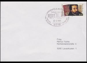 1503 Spee von Langenfeld Dichter, EF Brief SSt Langenfeld Stadthalle 23.2.1991
