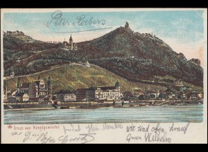 Ansichtskarte Gruss aus Königswinter, DRACHENFELS 13.7.1903 nach BREYELL 14.7.03