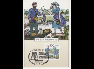 1570 Tag der Briefmarke: Briefträger, Maximumkarte SSt Moers Grubenwehr 27.10.91