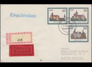 U 2 Burgen mit Not-R-Zettel (Ortsangabe fehlt) als Eil-R-Bf. BERLIN ZPF 11.10.85