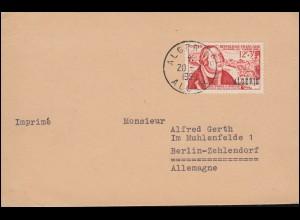 Algerien 346 Tag der Briefmarke mit Aufdruck ALGERIE Drucksache ALGER 20.8.1956