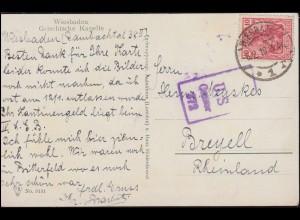Zensur U.S. Censor 372 auf AK Wiesbaden Griechische Kapelle, 6.2.19 nach Breyell