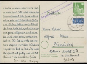 Landpost Steinfeld über KALL (EIFEL) 23.10.1950 auf Postkarte EF mit Notopfer