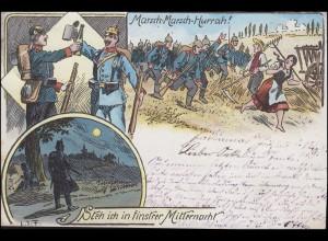 Ansichtskarte Militaria Humor Marsch-Marsch-Hurrah! gelaufen 11.9.1898