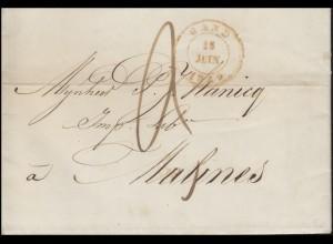 Niederlande Vorphilatelie Brief GAND / GENT 15.6.1849 nach Malines 16.6.
