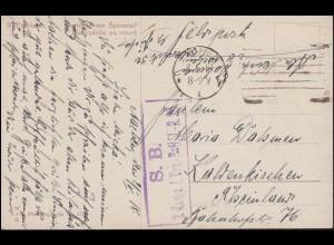 Feldpost SB 1 Komp. I. Ers.-Batl. I.-R. 25 auf AK Am Spinnrad, AACHEN 7.5.1918