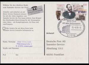 1912 Heinrich von Stephan, AK Reichspostamt SSt Hannover Weltpostverein 19.9.99