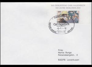 1734 Berliner Zoo & Carl Hagenbeck 100 Pf aus Bl. 28, EF FDC ESSt Hamburg 5.5.94