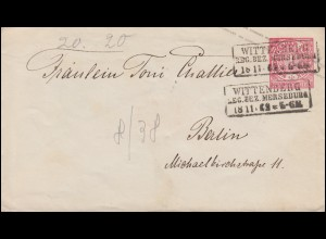 Norddeutscher Bund U 1Aa Ziffer 1 Gr WITTENBERG / MERSEBURG 18.11.69 nach BERLIN