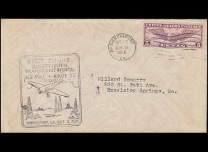 Erstflug FIRST FLIGHT SOUTHERN TRANSCONTINENTAL ROUTE 53, Shreveport 15.10.1930