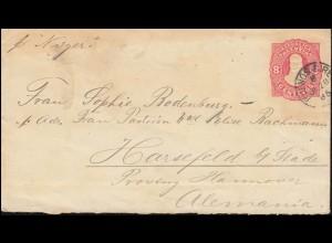 Argentinien Umschlag 8 Cent. rot, BUENOS AIRES 28.7.1885 nach HARSEFELD 24.8.85