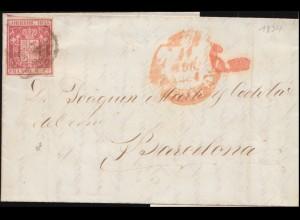 26 Wappen mit Königskrone 6 Cs. auf Brief 1854 nach Barcelona