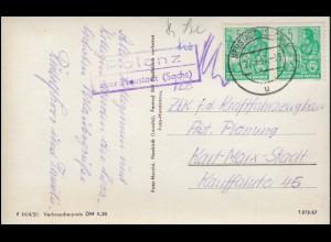 Landpost-Stempel Polenz über NEUSTADT (SACHSEN) 22.7.1957 auf passender AK