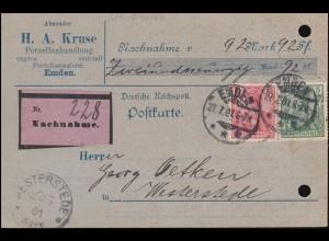 55+56 Germania-MiF auf NN-Karte der Porzellanhandlung Kruse in EMDEN 27.7.1901