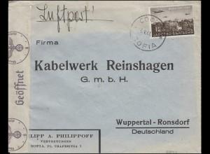Bulgarien 1941: 382 EF Brief SOFIA 6.5.41 nach Wuppertal - Zensur in Deutschland