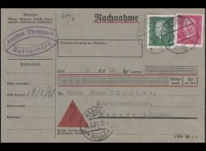 412+424 Ebert+Hindenburg 8+15 Pf MiF Nachnahmekarte RAVENSBURG 17.2.31 n. Wangen