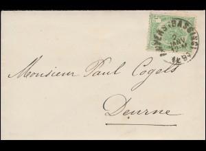 Belgien 52 Staatswappen 5 C. hellgrün EF auf Damenbrief ANVERS/BASSINS 2.1.1884