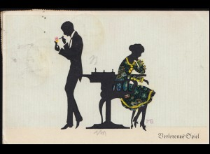 Fasto-Silhouetten-Ansichtskarte Liebesspiel Verlorenes Spiel, KÖLN 31.5.1923