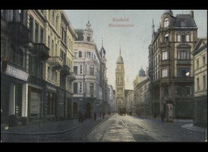 Ansichtskarte Krefeld Rheinstraße, CREFELD 5.10.1909 nach Breyell