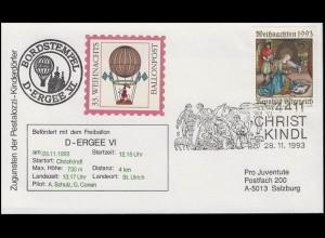 33. Weihnachtsballonpost Bordstempel D-ERGEE VI SSt Christkindl 28.11.93