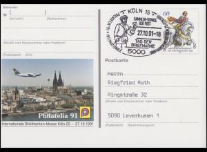 PSo 25 Messe Köln Philatelia, SSt Köln Tag der Briefmarke & Postbote 27.10.1991