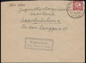 Landpost Kostenbach über WADERN (SAAR) LAND 15.11.1950, Brief nach Saarbrücken