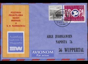 Jugoslawien: EUROPA Helsinki 1975, MiF Schmuck-Karte NAPOSTA'76, Zagreb 6.4.1976