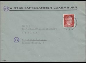 Luxemburg Hitler-EF 8 Pf Wirtschaftskammer Orts-Bf LUXEMBURG 27.7.44 Kohenhandel