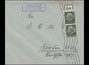 Hindenburg-Mischfrankatur 3+20 Pf. MiF auf Nachnahmekarte LEIPZIG 24.7.35