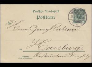 Postkarte Ziffer 5 Pf. grün WERNIGERODE 23.8.94 nach Harzburg