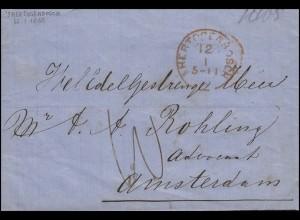 Niederlande Vorphilatelie Brief S'HERTOGENBOSCH 12.1. nach AMSTERDMA 13.1.65