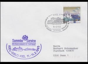 1653 Olympiahafen 170 Pf EF FDC ESSt Kiel Segelsport 11.2.1993 & Neben-O Schiffe