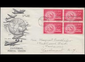 603 UPU Viererblock Schmuck-FDC UNIVERSAL POSTAL UNION SEATTLE 30.11.1949