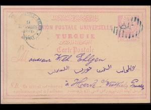 Türkei Postkarte P 8 Halbmond EMP. OTTOMAN 20 Paras CONSTANTINOPEL 9.9.1890