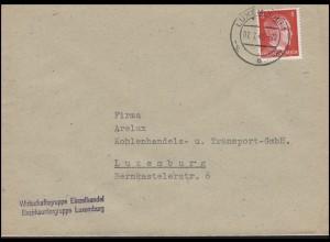 Luxemburg Hitler-EF 8 Pf Wirtschaftsgruppe Einzelhandel Orts-Bf LUXEMBURG 7.7.43