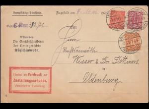 27+28+30 Dienstmarken auf Zustellungsurkunde Kötzschenbroda-Niederlößnitz 3.5.21