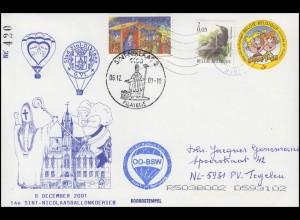 Belgien: 14. Ballonkoerier Bordstempel OO-BSW, SSt Sint Niklaas 6.12.2001