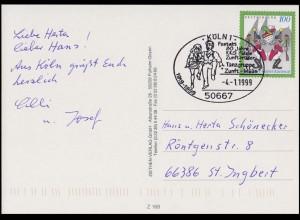 1903 Kölner Karneval EF FDC-Ansichtskarte ESSt Köln Tanzgruppe Zunft-Müüs 4.1.99