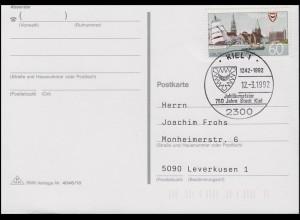 1598 Kiel EF FDC-Postkarte ESSt Kiel Jubiläumsfeier 750 Jahre Kiel 12.3.1992